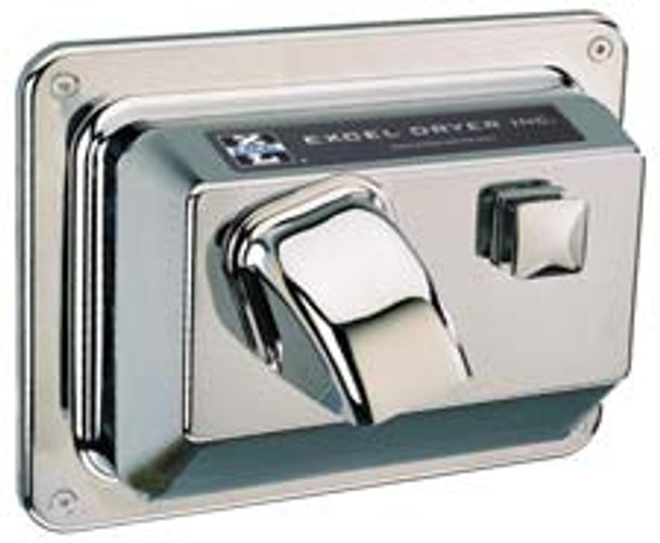 CAST Series R76-C Hands On Push Button Hand Dryer from Excel Dryer - Die-cast Zinc Alloy, Chrome Plated Cover, Recessed Mount