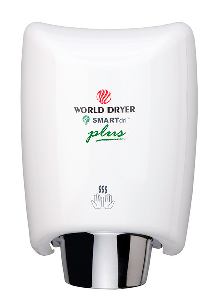 World Dryer K-974P SMARTdri Plus Air Hand Dryer - Automatic White Aluminum Cover Surface Mounted hand dryer with single-port nozzle