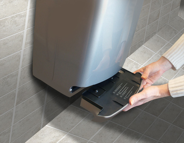Drain tray on the VMax Hand Dryer