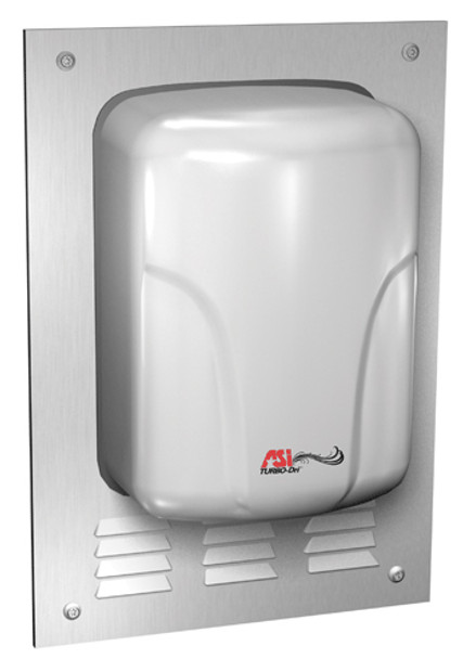 Look of the ASI Turbo Dri hand dryer semi recessed with the optional recess kit added