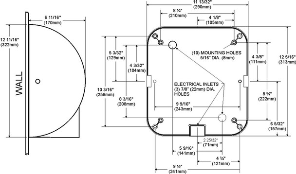 Schematic of the Xlerator hand dryers XL-C from Excel Dryer