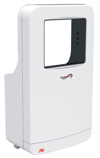 White 20201 Triumph Hand Dryer by ASI is high-speed and uses a HEPA filter to purify the air blown on your hands when drying.