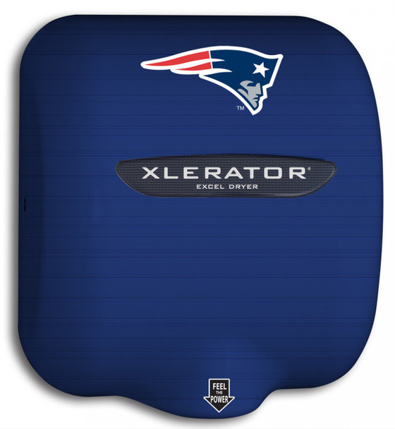 New England Patriots' Xlerator XL-SI hand dryer with custom logo on HandDryerSupply.com