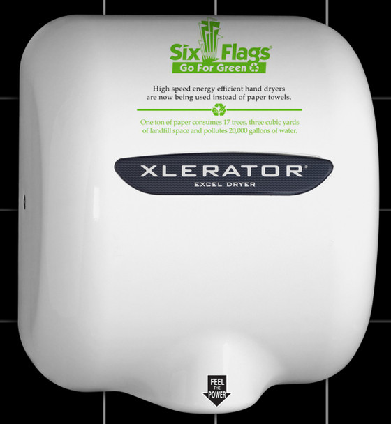 Six Flag's Xlerator XL-SI hand dryer with custom logo on HandDryerSupply.com