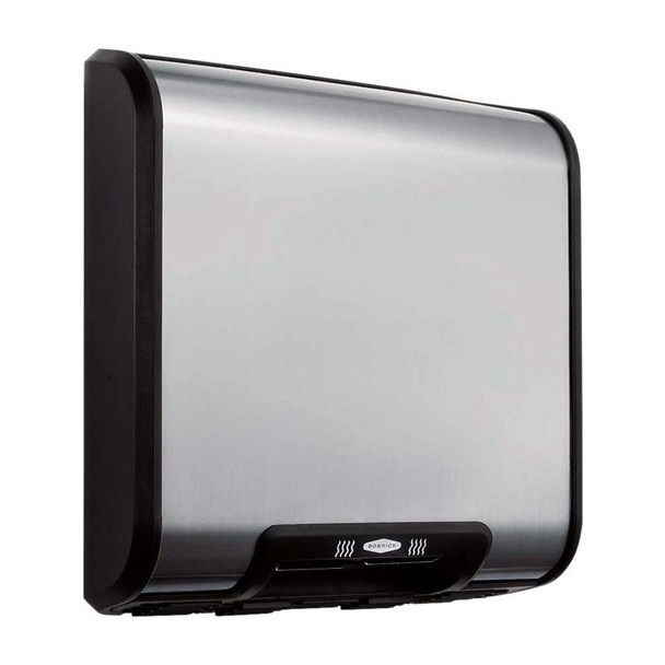 Bobrick B-7128 Trim Dry/TrimLine Hand Dryer has a satin stainless steel cover.