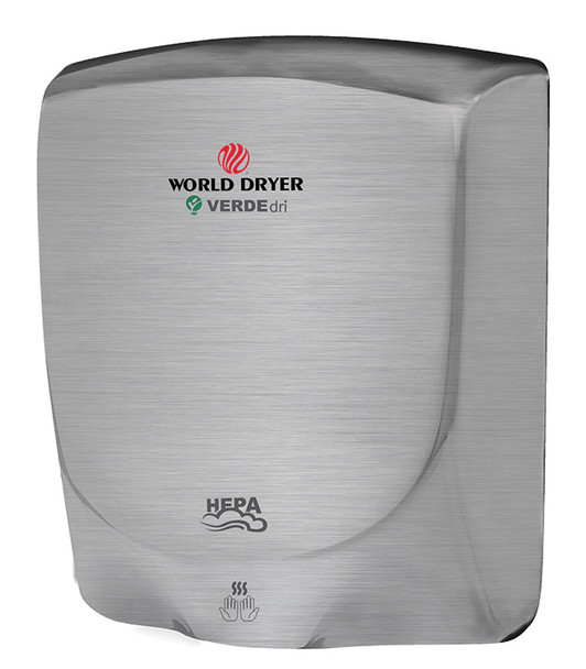 World Dryer VERDEdri Q-973A Brushed Stainless Steel electric hand dryer has a single port nozzle