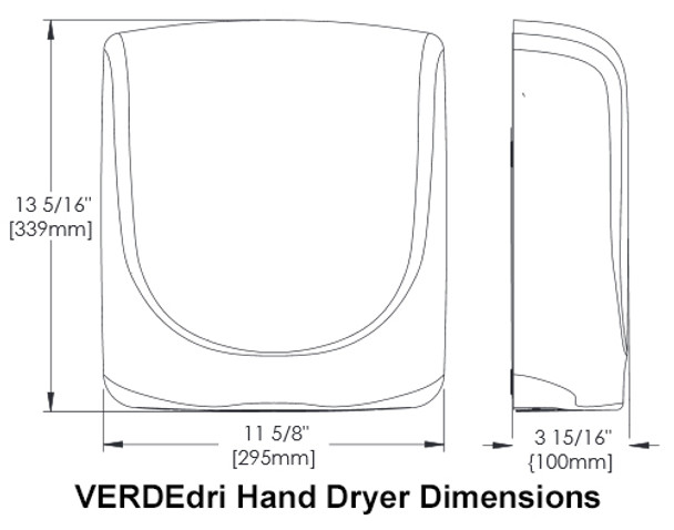 Dimensions of the VERDEdri hand dryers by World Dryer