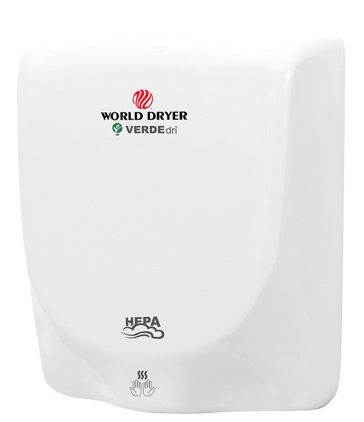World Dryer VERDEdri Q-974A White aluminum hand dryer has a single port nozzle, is high speed drying hands in 12 seconds