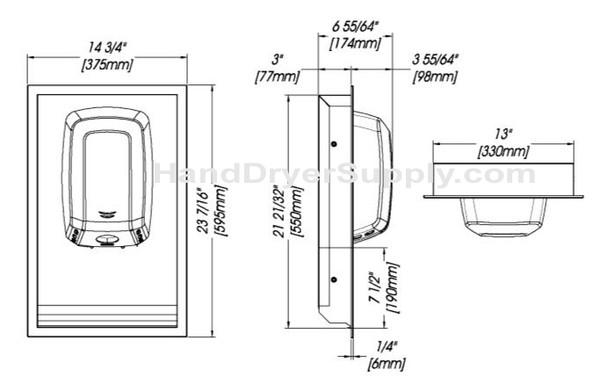 Dimensions of the Machflow KT0009CS Recess Kit