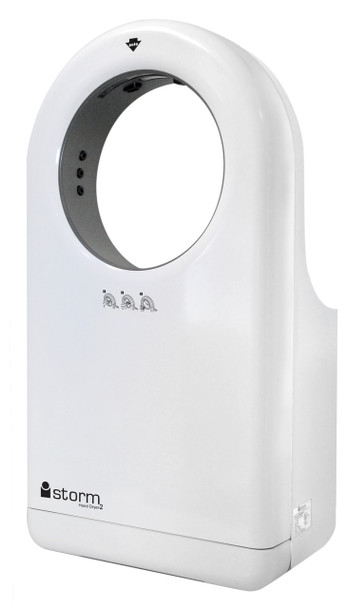 New White iStorm 2 Hand Dryer HD0983-17, HD0984-17, HD0985-17 from Palmer Fixture is Automatic, Surface Mounted, but ADA compliant, and Fast drying hands in less than 15 seconds.