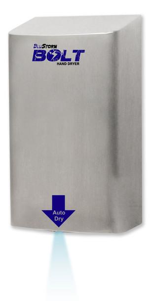 Blue LED light illuminates the sensor area of the BluStorm Bolt hand dryer