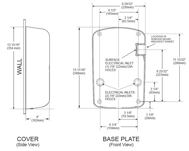 Dimensions of the Excel Dryer ThinAir TA-SB