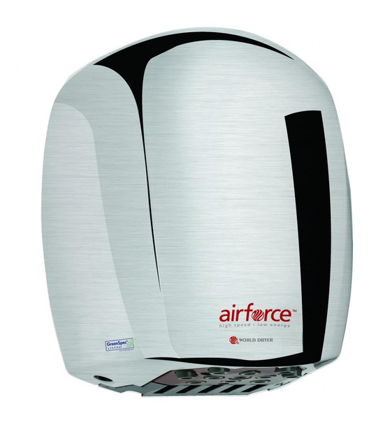 World Dryer Airforce J-971 Brushed Chrome fast hand dryer