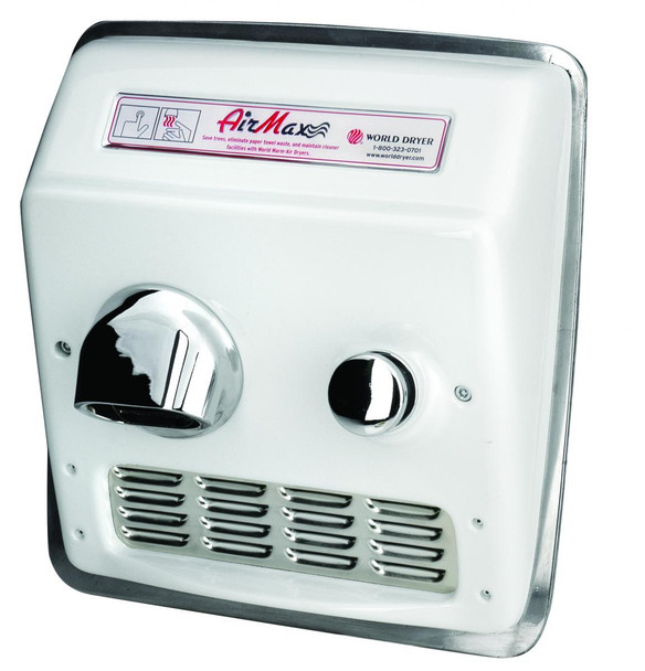 World Dryer AirMax Cast Iron White Push Button Recessed Mount commercial hand dryer
