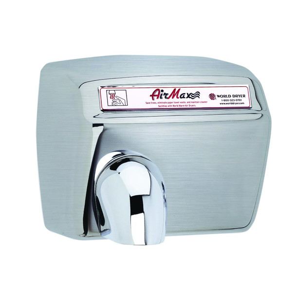 World Dryer AirMax Stainless Steel Brushed Automatic commercial hand dryer