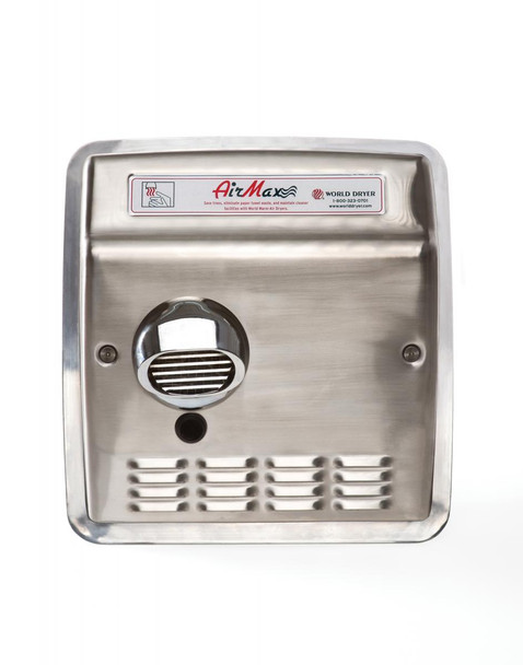 World Dryer AirMax Stainless Steel Brushed Automatic Recessed commercial hand dryer