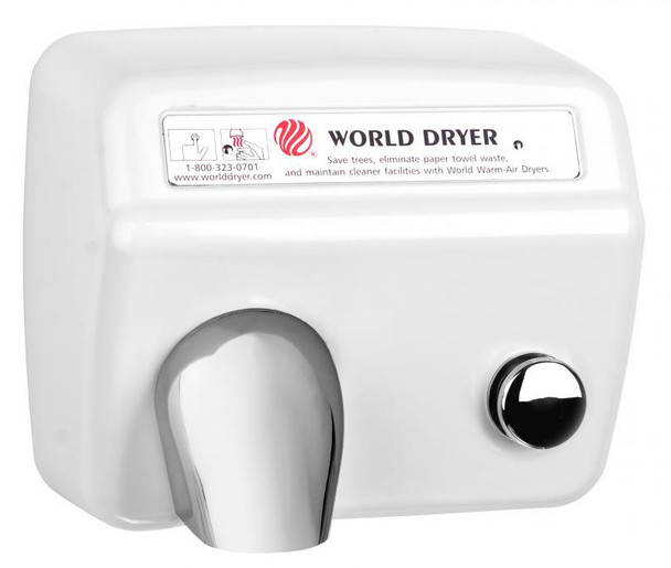 World Dryer Model A5-974 Cast Iron White Push Button commercial hand dryer