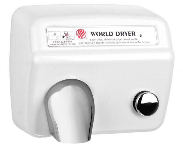 World Dryer Model DA5-974 Steel White Push Button restroom hand dryer