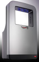 Blue LED lights shine on hands when drying with the ASI Triumph hand dryer