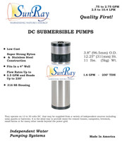 SunRay Solar Well Pump 200' Kit with PV Solar Panels - 1.5 gpm 700 gpd