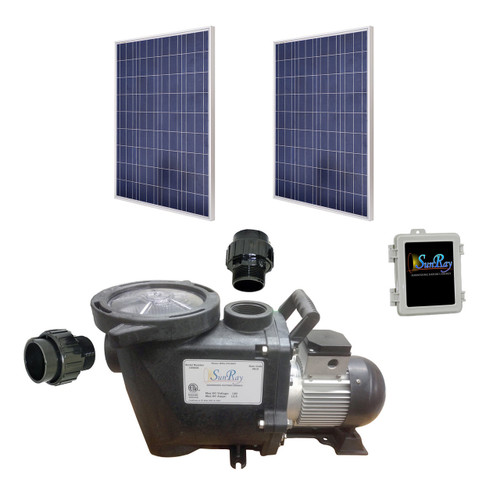 SunRay SolFlo2 - 2 Solar Panels 500w Filter Pump Systems Complete 50GPM 50FT Head 120VDC Brushless Motor