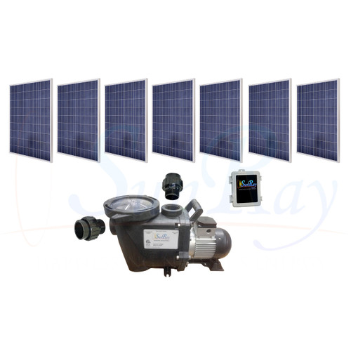SunRay SolFlo3 - 7 Solar Panels 1.750kW Filter Pump Systems Complete Solar Pool Pump 80GPM 55FT Head 180VDC Brushless Motor