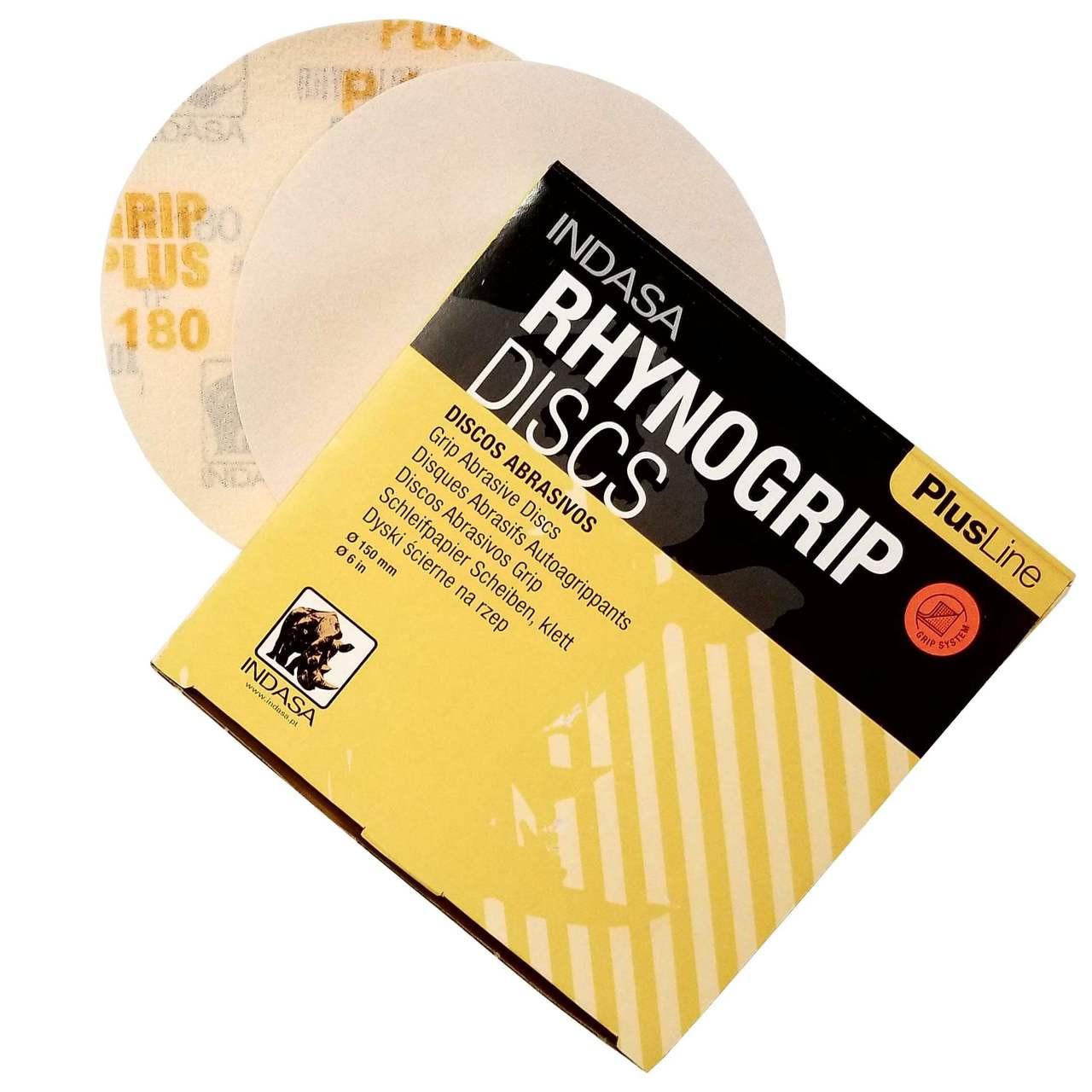 """Indasa RhynoGrip PlusLine Sandpaper Discs- Hook & Loop 6"""""""
