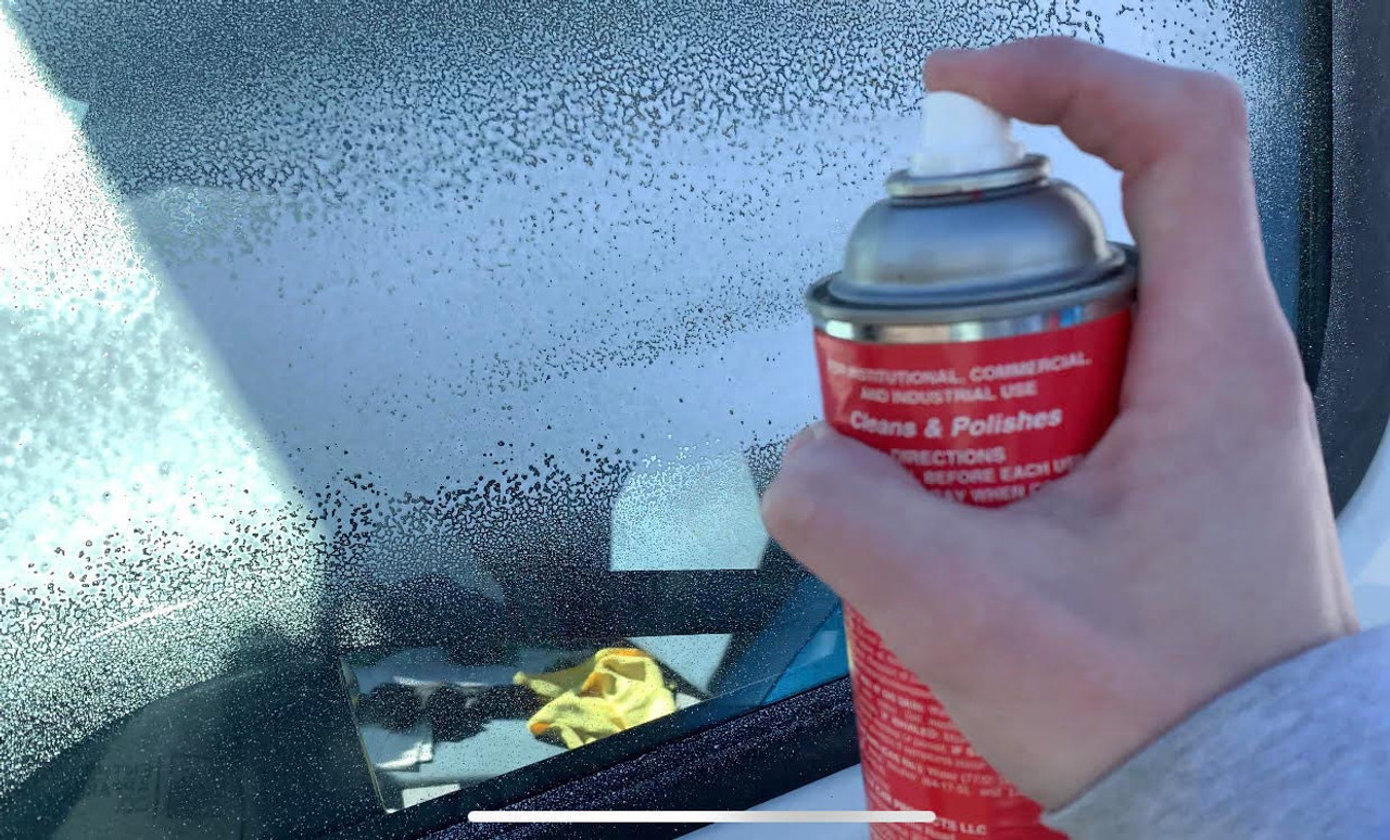Show Car Glass Cleaner foams as you spray it.