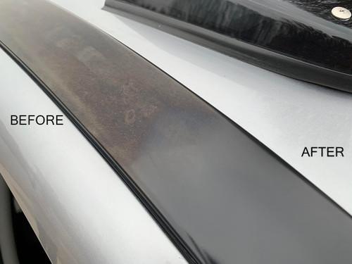 Smooth exterior trim restored using Novus #2