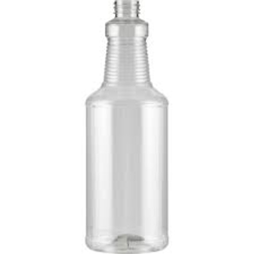 This 32oz Clear Plastic bottle.  The tapered neck provides a more comfortable grip when used with a trigger sprayer.  Clear Pastic material with a 28/400 thread finish.