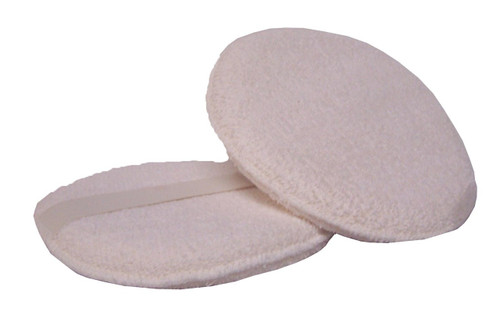 "This is a 8"" round Terry Cloth applicator with a strap across the back."