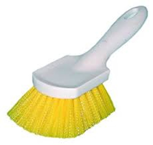 Magnolia 68CP Yellow Utility brush is a stiff plastic automobile brush that can be used for tires, carpet, upholstery and floor mats. Fiber is staple set in a polypropylene block with an upturned handle. 8-1/2-inches block length; 2-inch trim.