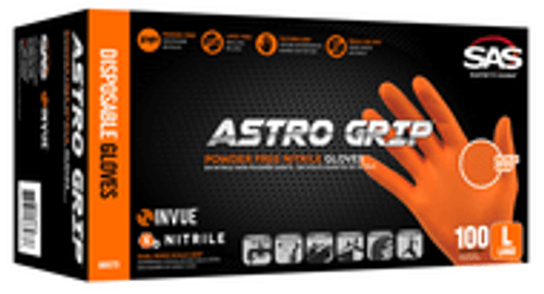 •	Powder-free nitrile •	Thickness: 7mil •	Dual-sided scale textured surface for superior grip •	High-visibility orange color •	Non-latex •	Exceptional chemical and puncture resistance •	Maximum comfort allows for extended wear •	100 gloves per box