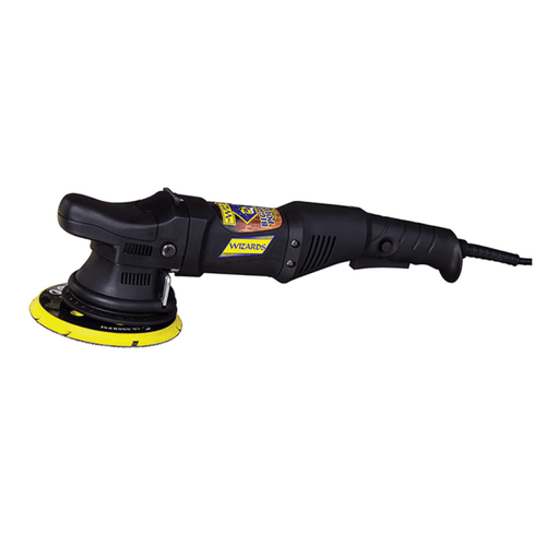 "Wizards DA 21mm Big Thrower Polisher removes scratches, correct imperfections, and does not burn from paint overheating. Best results with Mystic Nano Wax, Mystic Cut, 6"" Microfiber cutting pad, 6"" orange foam polishing pad, and 6"" gray foam finishing pad."