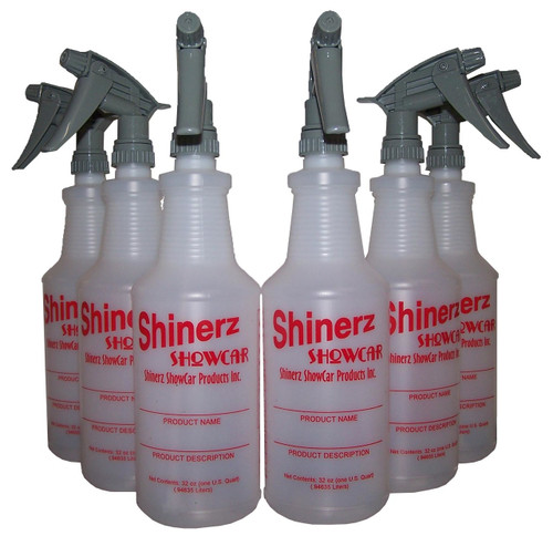 6 32oz Shinerz ShowCar Logo Bottles  Perfect for diluting ShowCar products! Label area so you will never confuse the product inside. HMIS Rating area to maintain Hazard warning. Quart Dilution Cheat Sheet Table  6 Tol-320CR Chemical Resistant Sprayers  A Super heavy-duty industrial strength sprayer. Made of Viton, a superior chemical resistance material. The adjustable nozzle sprays from a fine mist to a jet stream. Delivers 1.3 ml per stroke, 30-40% greater than standard trigger sprayers!