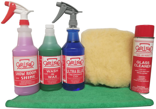 ShowCar Starter Kit with Show Room Shine, Wash-N-Wax, Ultra Blue, Glass Cleaner, a wash mitt, and a towel