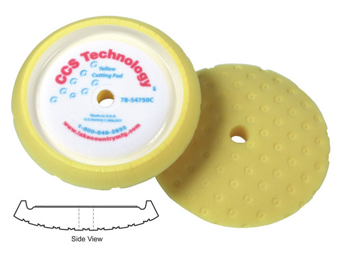 """Lake Country CCS Yellow Curved Edge Foam Cutting Pad 7.5"""""""