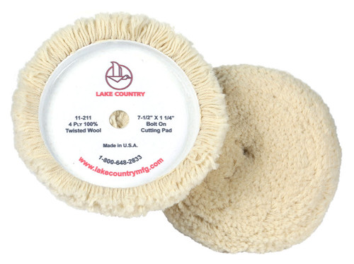 """The Lake Country 4 Ply 100% Twisted Wool  7.5"""" Hook & Loop Pad is an ideal pad for any experienced detailer to get a quick and aggressive cut."""