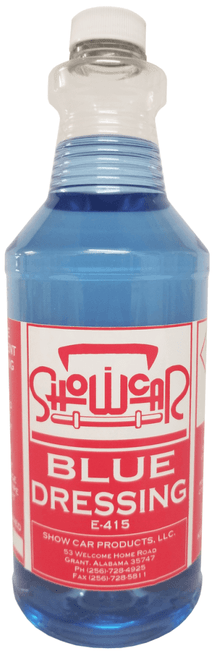 BLUE DRESSING is a high gloss solvent base dressing for tires and exterior trim.  It leaves an exceptionally high shine, while drying fast, easy and lying down smooth.  Also Available in 5 Gallon, 30 Gallon Drum or 55 Gallon Drum.