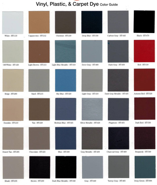 Hi-Tech Vinyl, Plastic & Carpet Dye chart