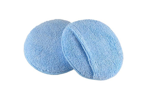 Poly-sponge applicators encased in blue microfiber. Great for applying wax and polish to cars. Round, 5.5 inch diameter with pocket.