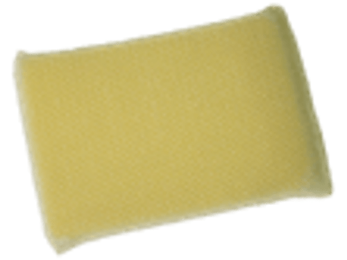 "A poly-sponge encased in a nylon mesh bag. When wet it cleans dirt and grime from windshields, chrome and whitewalls. 4"" x 7"" x 1""."