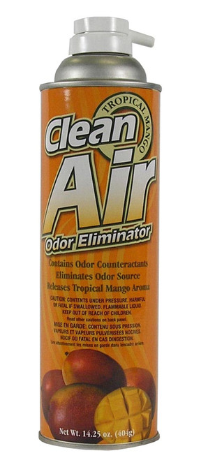 Hi-Tech Clean Air Odor Eliminator contains odor counteractants to eliminate odor source and release a pleasant Tropical Mango aroma.