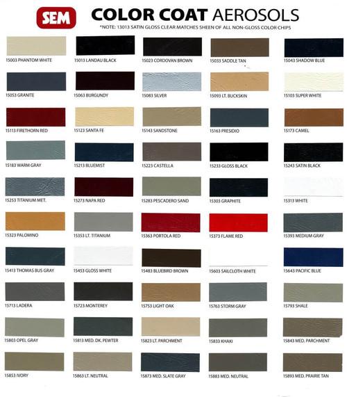 SEM Color Coat Color Chart