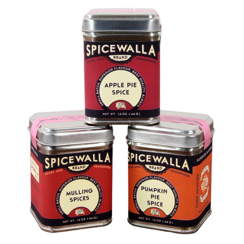 The 3 tins of the Spicewalla Holiday Collection 3 Pack stacked on a white background