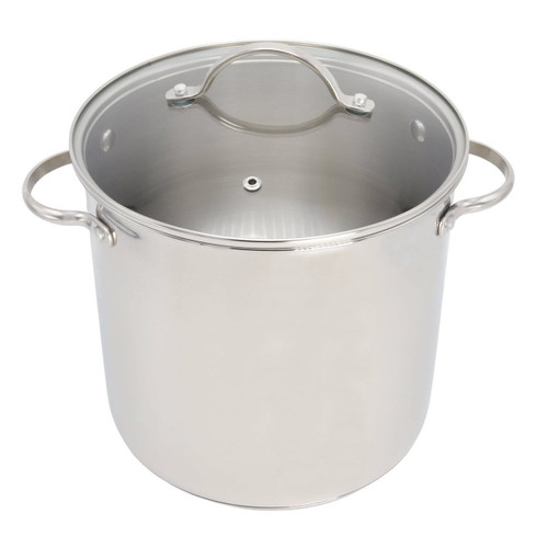 RSVP Endurance Stainless Steel 8 Quart Stock Pot with lid on on a white background
