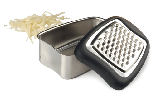 RSVP Endurance Stainless Steel Mini Grater with Cheese on a white background