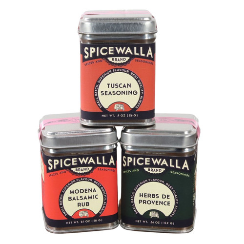 The 3 tins of the Spicewalla Mediterranean Collection stacked on a whit background