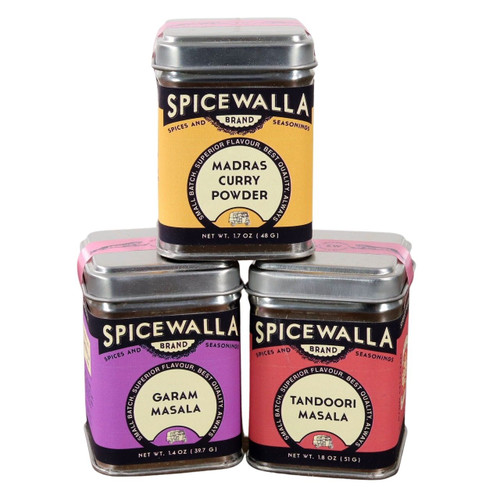 The 3 tins of the Spicewalla Masala Collection stacked on a white background