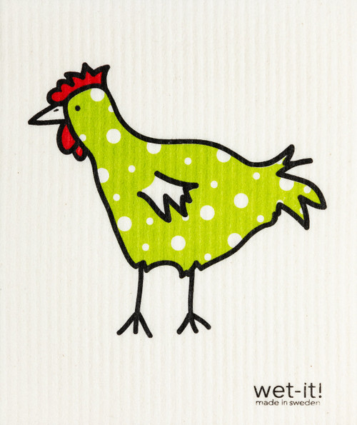 Wet-It! The Spotted Chicken Swedish Cloth Green